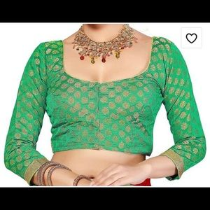 Tops - Readymade 3/4th Sleeve chanderi silk saree blouse